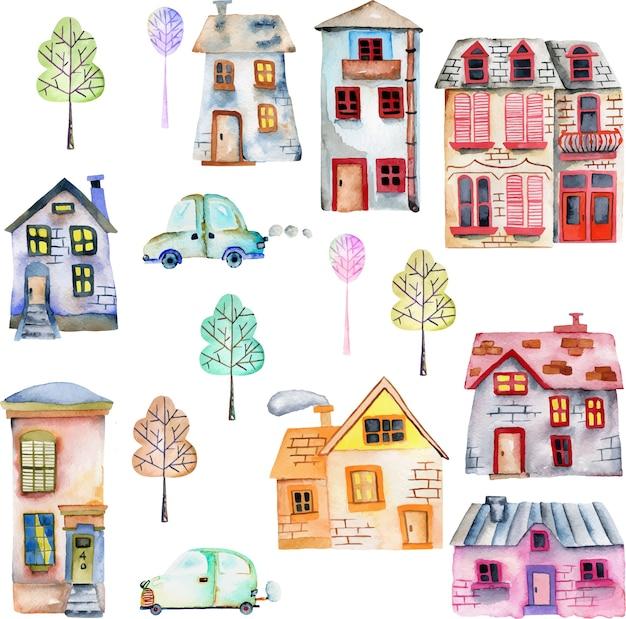 Casas de aquarela bonito dos desenhos animados, carros e árvores Vetor Premium