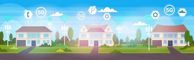 Casas de campo no conceito de conexão de sistemas sem fio on-line do subúrbio 5g Vetor Premium