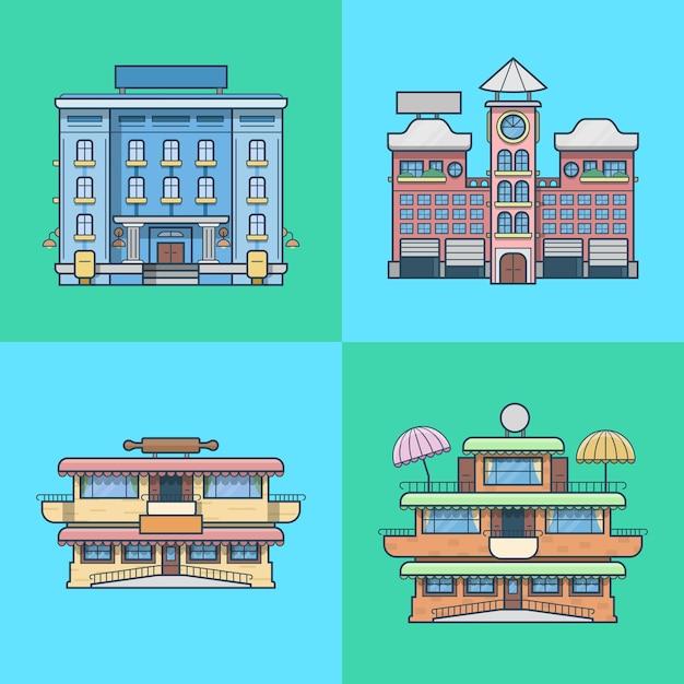 Casas de cidade cidade hotel café restaurante terraço padaria arquitetura edifício conjunto. Vetor grátis