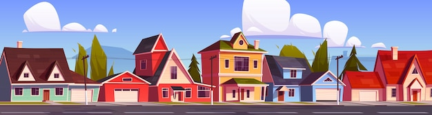 Casas de subúrbio, rua suburbana com chalés. Vetor grátis