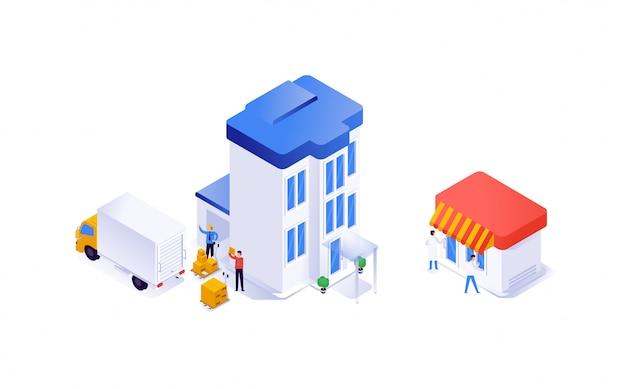 Casas e equipamentos em isométrico. da produção para a loja. vetor. Vetor Premium