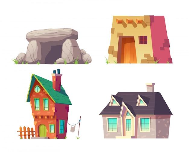 Casas humanas do pré-histórico ao jogo moderno do vetor dos desenhos animados do tempo isolado. caverna, antiga casa de telhado plano, chapéu rural com paredes de tijolo e telhado de telha, casa de campo moderna, ilustração de edifício de mansão Vetor grátis