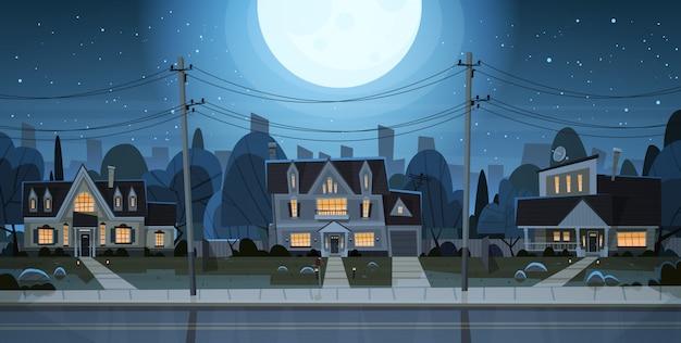 Casas, noturna, vista, subúrbio, grande, cidade Vetor Premium