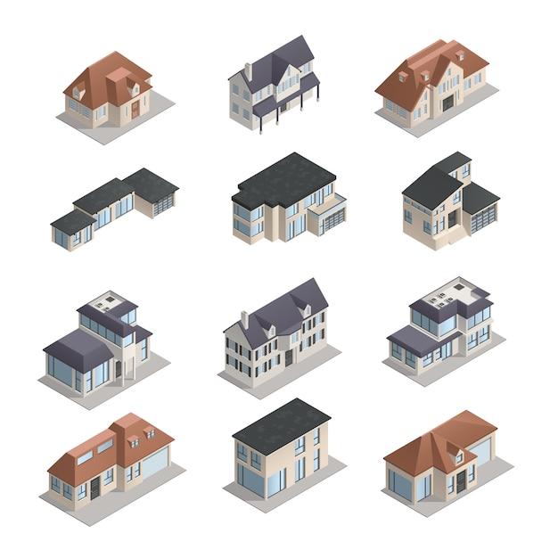 Casas suburbanas low-rise isométricas mpdern de forma diferente conjunto isolado Vetor grátis
