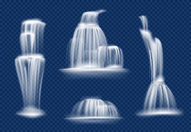 Cascata. cascata de água fluindo com salpicos e gotas rápida cachoeira realista natural transparente Vetor Premium