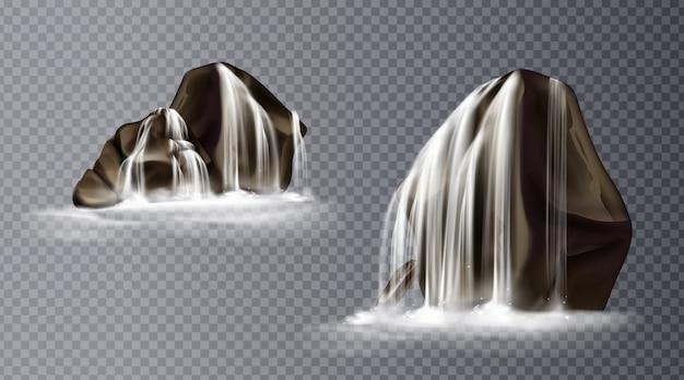 Cascata na rocha, queda de água realista Vetor grátis