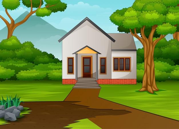 Casinha na bela paisagem com quintal verde Vetor Premium