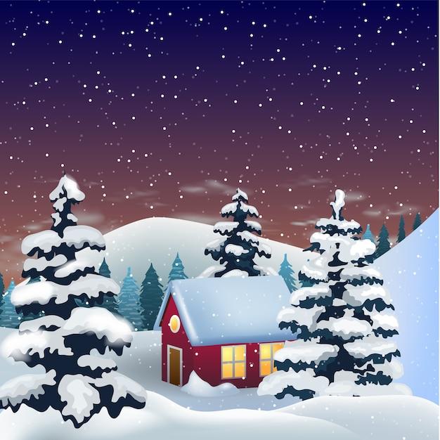 Casinha nas colinas nevadas, aconchegante cena de inverno. Vetor Premium