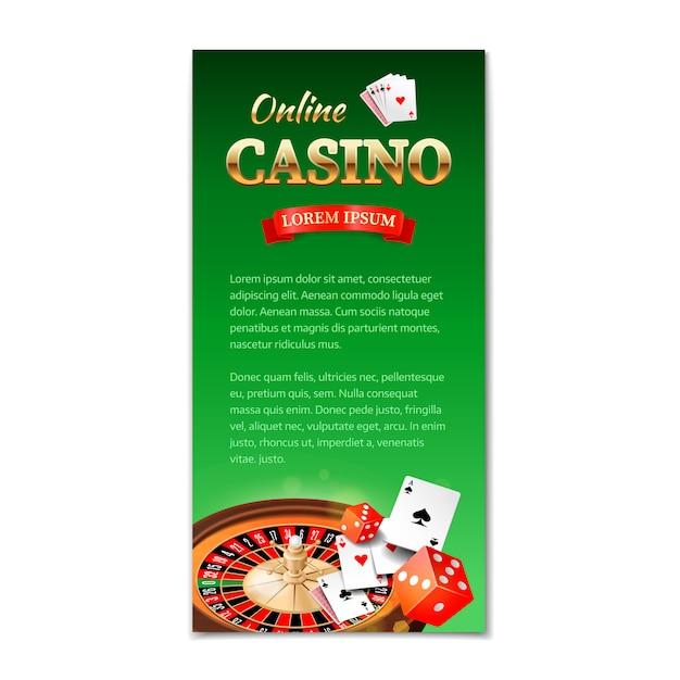 Casino. banner vertical, panfleto, folheto sobre um tema de cassino com roleta, jogo de cartas e dados Vetor Premium