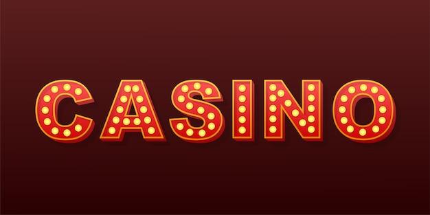 Casino de texto retro luz. lâmpada retro. ilustração das ações. Vetor Premium