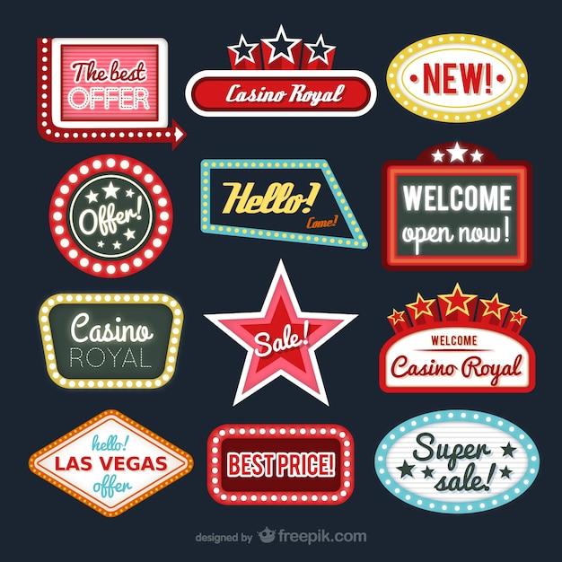 Casino e lojas de coleção de etiquetas Vetor Premium