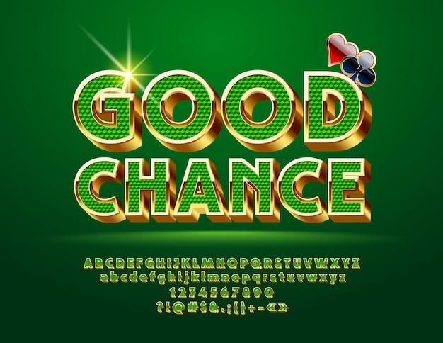 Casino letras do alfabeto dourado chique, números e símbolos de pontuação. Vetor Premium