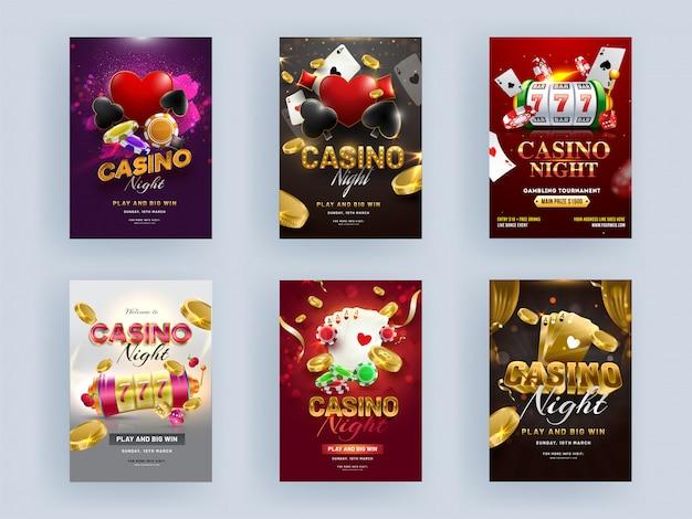 Casino noite festa flyer design com slot machine 3d, cartas de jogar, moedas de ouro e poker chip em fundo de cor diferente. Vetor Premium