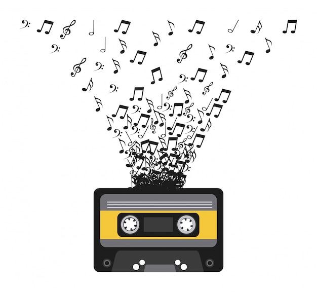 Cassete com ilustração vetorial de notas musicais Vetor Premium