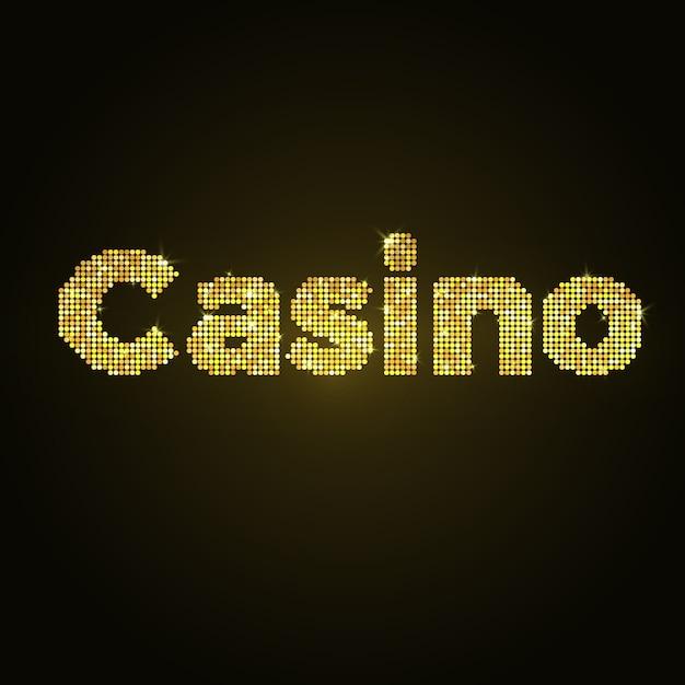 Cassino de palavra de mosaico de ouro. desenho vetorial. brilho dourado. Vetor Premium