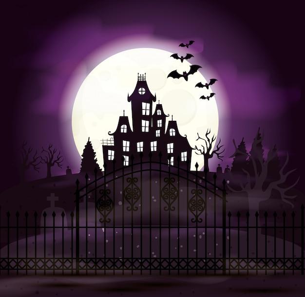 Castelo assombrado com cemitério e ícones na cena de halloween Vetor grátis