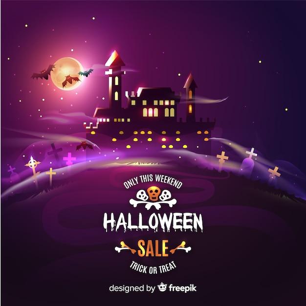Castelo assombrado na venda de halloween à noite Vetor grátis