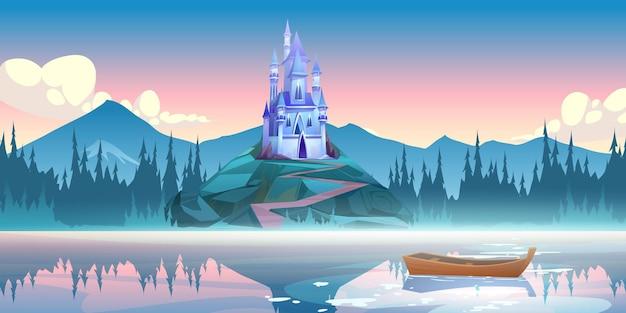 Castelo azul fantástico na rocha pela manhã Vetor grátis