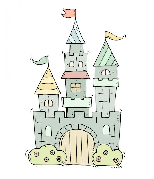 Castelo bonito dos desenhos animados para príncipe e princesa Vetor Premium