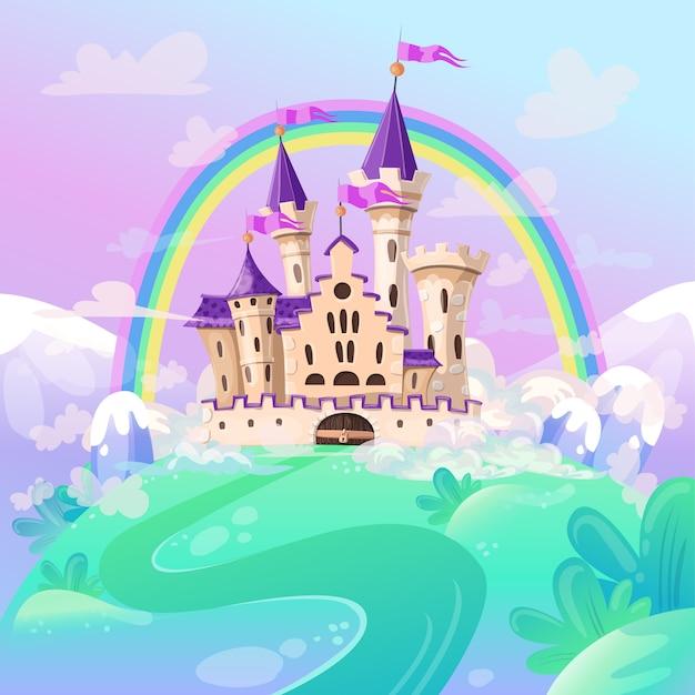 Castelo bonito dos desenhos animados. Vetor Premium