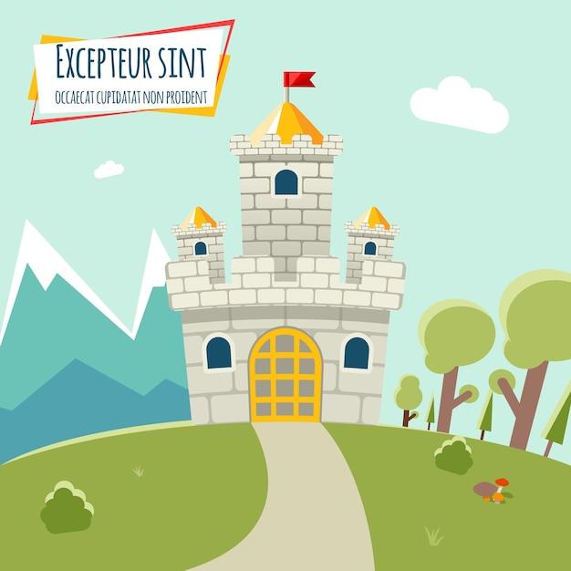 Castelo com uma torre alta e bandeira. em torno da floresta e das montanhas do castelo. ilustração vetorial Vetor grátis