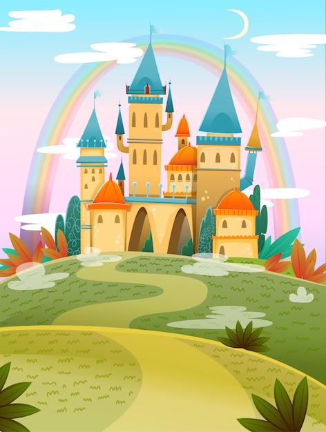 Castelo de bonito dos desenhos animados. castelo de desenho animado de conto de fadas. palácio de conto de fadas fantasia com arco-íris. ilustração vetorial Vetor Premium
