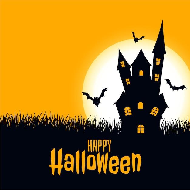 Castelo de cartão assustador de feliz dia das bruxas com lua e morcegos Vetor grátis