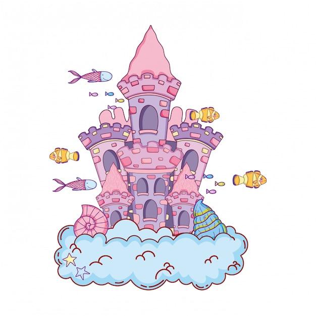 Castelo de conto de fadas bonito na cena submarina de nuvem Vetor Premium