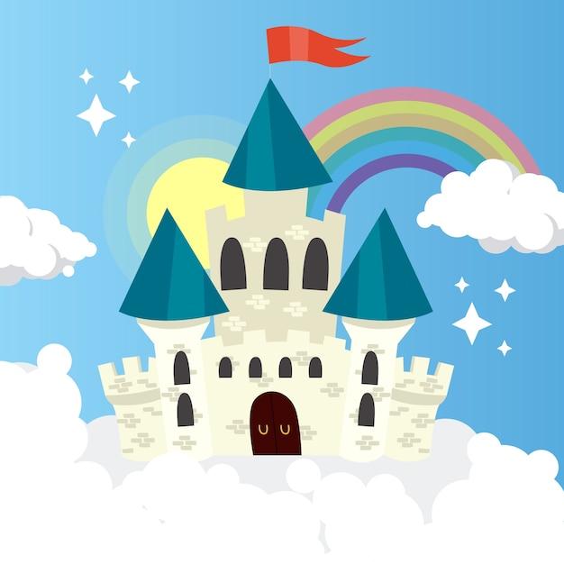 Castelo de conto de fadas com arco-íris e nuvens Vetor grátis