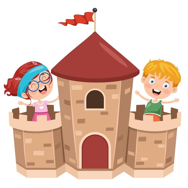 Castelo de conto de fadas e crianças felizes Vetor Premium