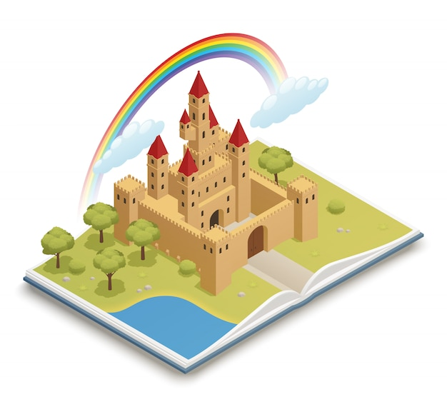 Castelo de conto de fadas isométrico Vetor grátis