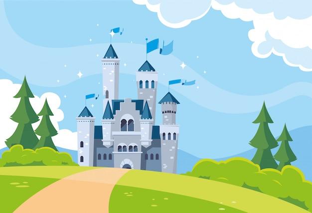 Castelo de conto de fadas na paisagem montanhosa Vetor Premium