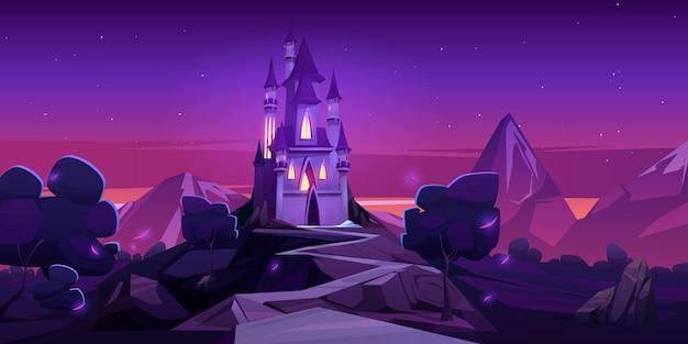Castelo de conto de fadas nas montanhas à noite Vetor grátis
