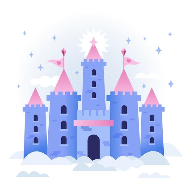 Castelo de conto de fadas nas nuvens Vetor grátis