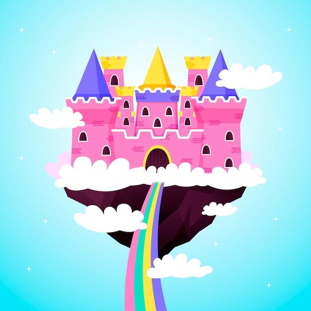 Castelo de conto de fadas rosa nas nuvens Vetor grátis