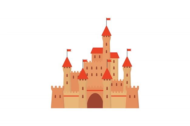 Castelo de fadas em estilo simples. Vetor Premium