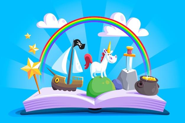 Castelo e livro inimagináveis de fairtytale Vetor grátis