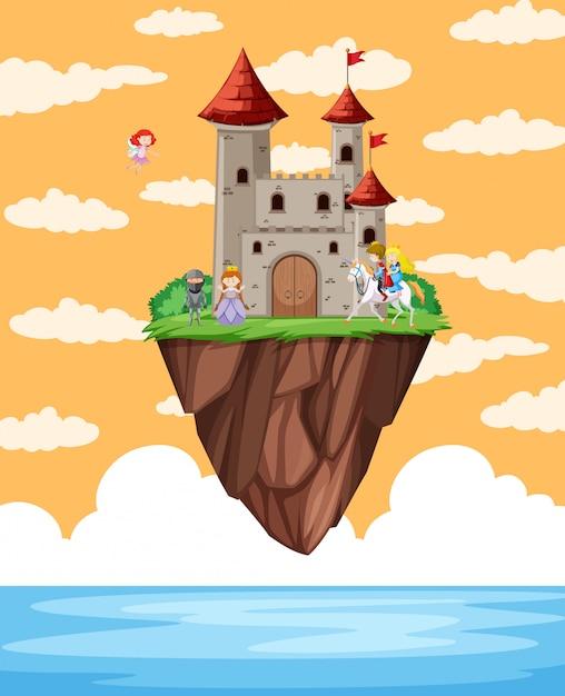 Castelo flutuando na cena da ilha Vetor grátis