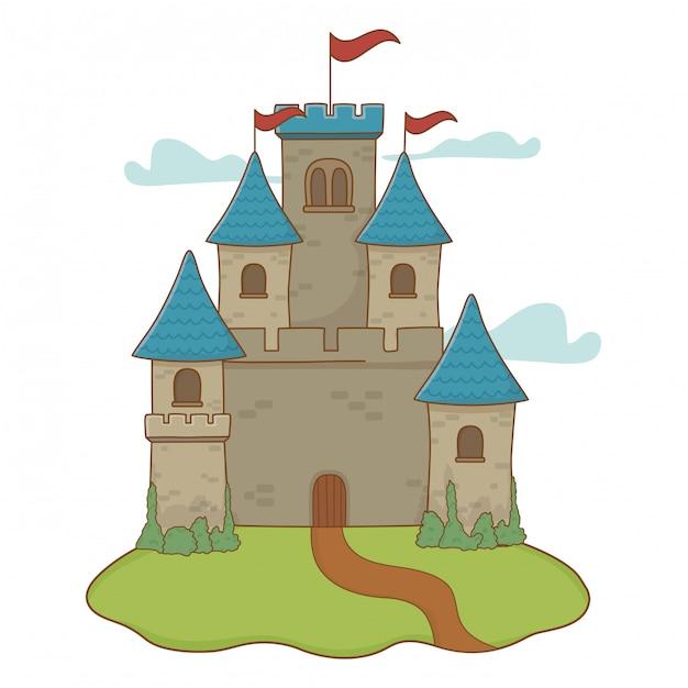 Castelo isolado com galhardetes desenho ilustração vetorial Vetor Premium