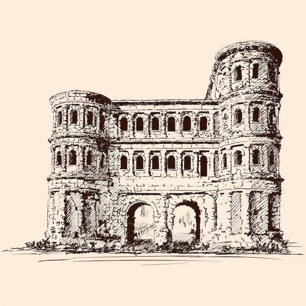 Castelo medieval de pedra com torres e arcos. Vetor Premium