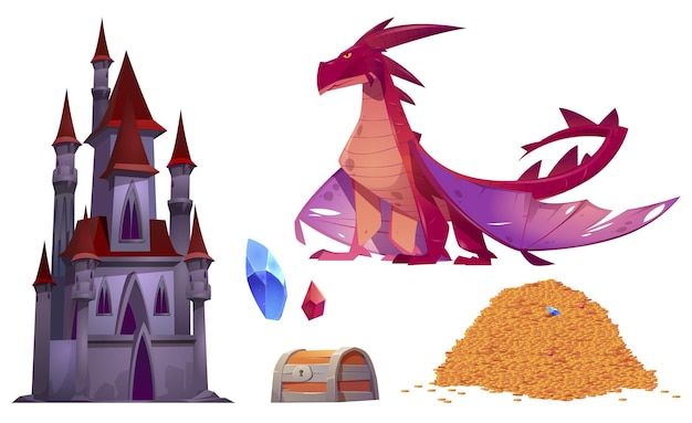 Castelo medieval, dragão, pilha de moedas de ouro e baú do tesouro isolado Vetor grátis