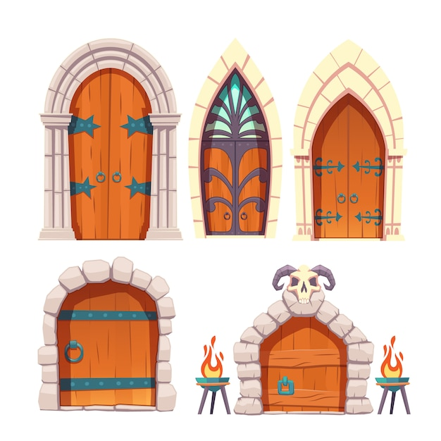 Castelo medieval, masmorra porta desenho vetorial conjunto Vetor grátis