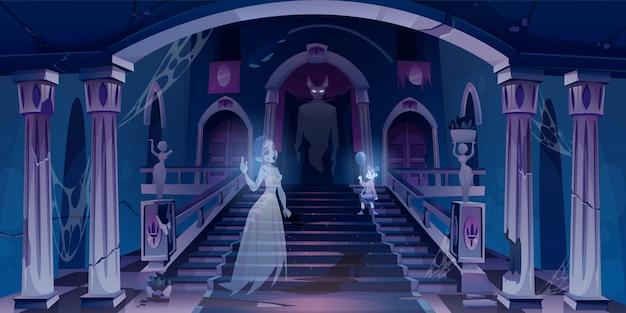 Castelo velho com fantasmas voando no quarto escuro assustador Vetor grátis