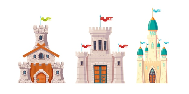 Castelos de conto de fadas medieval dos desenhos animados set vector Vetor grátis