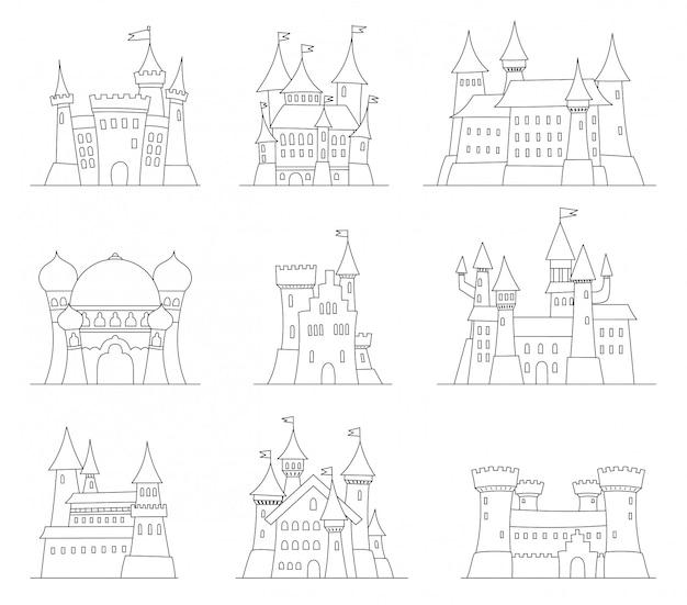 Castelos e fortalezas ícones do vetor design plano Vetor Premium