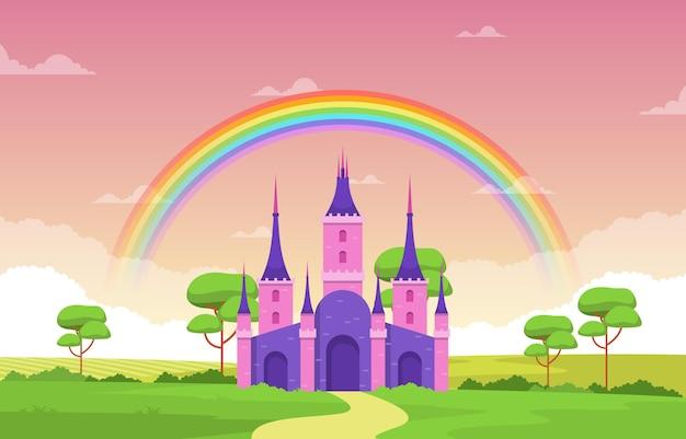 Castle palace rainbow in fairyland fairy tales landscape illustration Vetor Premium