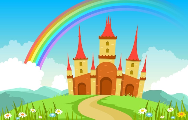 Castle palace rainbow in fairyland fairy tales landscape illustration Vetor Premium