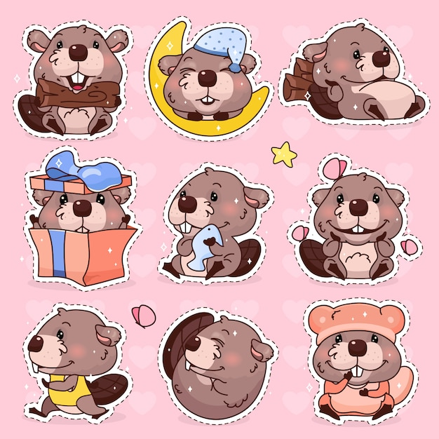 Castor bonito kawaii conjunto de caracteres dos desenhos animados. mascote animal adorável, feliz e engraçado isolado adesivos, pacote de patches, distintivos de crianças. anime bebê menina castor emoji, emoticon em fundo rosa Vetor Premium