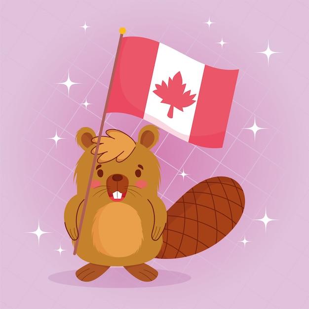 Castor com bandeira canadense de feliz dia do canadá Vetor Premium