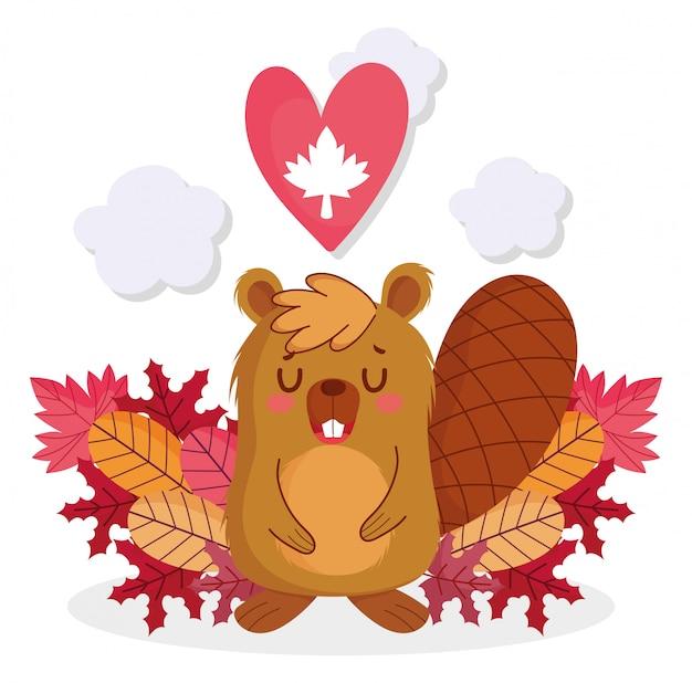 Castor com coração de folha de bordo de feliz dia do canadá Vetor Premium